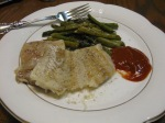 dinner: baked cod with butter and lemon and homemade cocktail sauce; sauteed asparagus